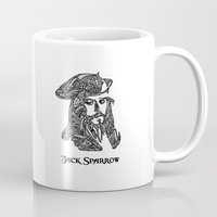 jack sparrow Mugs featuring Captain Jack Sparrow by christoph_loves_drawing
