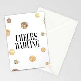 CHEERS DARLING GIFT, Wedding Quote,Anniversary Print,Gold Confetti,Cheers Sign,Champagne Quote,Celeb Stationery Cards