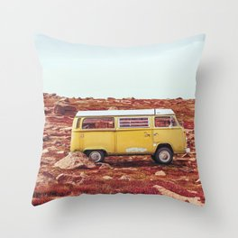 yellow Camper Throw Pillow