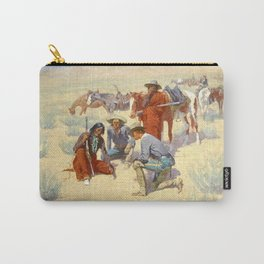 """Western Art """"A Map in the Sand"""" by Frederic Remington Carry-All Pouch"""