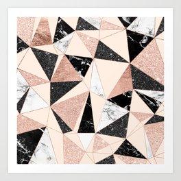 Modern black white marble rose gold glitter foil geometric abstract triangles pattern Art Print