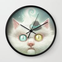 lady gaga Wall Clocks featuring Release the Odd Kitty!!! by Dctr. Lukas Brezak