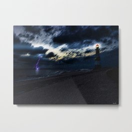 Twilight Lightning and Lighthouse Landscape by Jeanpaul Ferro Metal Print