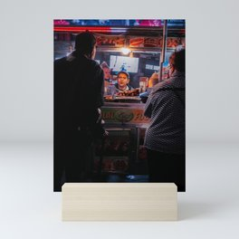 People Ordering from a Food Cart Mini Art Print