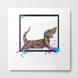 Paper Wiener Dog- Wild World Of Paper Series Metal Print
