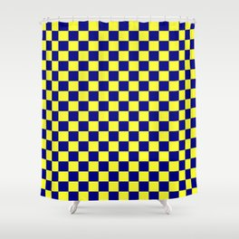 Electric Yellow and Navy Blue Checkerboard Shower Curtain