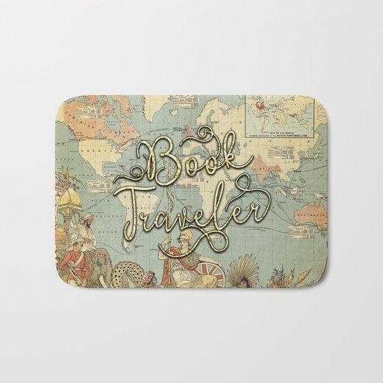 Book Traveler Vintage Map v3 Bath Mat