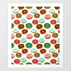 Christmas festive donuts holiday dessert junk food foodie pattern print red and green Art Print