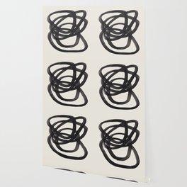Mid Century Modern Minimalist Abstract Art Brush Strokes Black & White Ink Art Spiral Circles Wallpaper