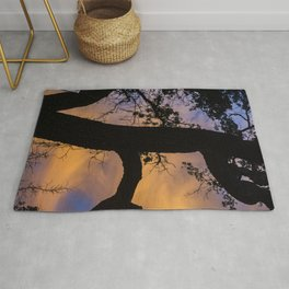 Silhouetted Tree at Sunset Rug