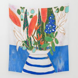 Nautical Striped Vase of Flowers Wall Tapestry