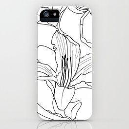 Monochrome Tropical Outlines Floral Pattern iPhone Case