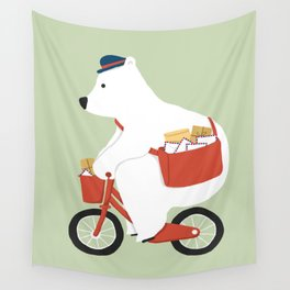 Polar bear postal express Wall Tapestry