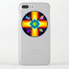 Star/Flower Design Clear iPhone Case