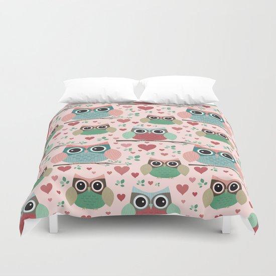 Owls in Love Pattern Duvet Cover