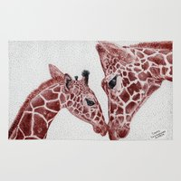 giraffes Area & Throw Rugs featuring Giraffes by Dave Benczkowski