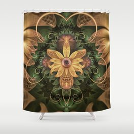 Beautiful Filigree Oxidized Copper Fractal Orchid Shower Curtain