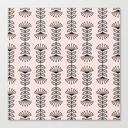 Retro Pink Floral Pattern-Mix and Match with Simplicity of Life Canvas Print