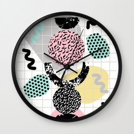 Righteous - abstract minimal throwback retro memphis style art decor wacka design Wall Clock