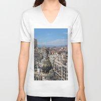 madrid V-neck T-shirts featuring Madrid Espana by Eduardo Doreni
