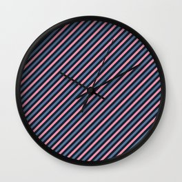 Pink and dark blue stripes Wall Clock