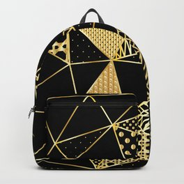 gold geometric with pattern Backpack