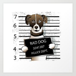 cartoon dog prisoner Art Print