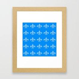 Fleur de lis blue mono chroma Framed Art Print