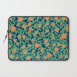 Oranges and Leaves Pattern - Navy Blue Laptop Sleeve
