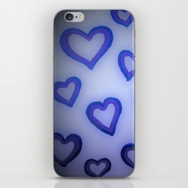 Blue Glow Hearts iPhone Skin