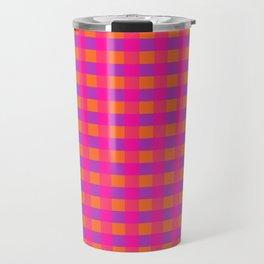 Jazzy Checks in Orange, Pink and Purple Travel Mug