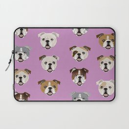 English Bulldog faces cute dog art pet portrait must have gifts for english bulldog owners Laptop Sleeve