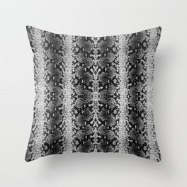 Snake Silver Print Throw Pillow