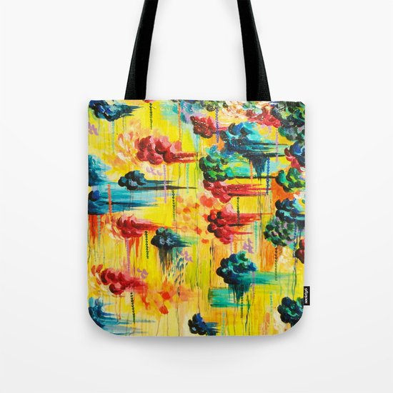 HERE COMES THE RAIN - Abstract Acrylic Painting Rain Storm Clouds Colorful Rainbow Modern Impasto Tote Bag