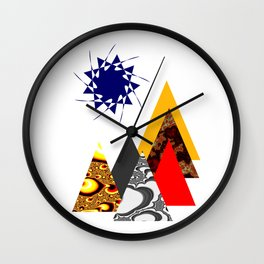 Geometric print minimalist scandinavian mountains abstract Wall Clock