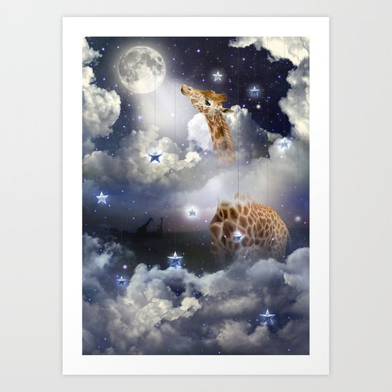 Shoot For The Moon (Giraffe In The Clouds) Art Print