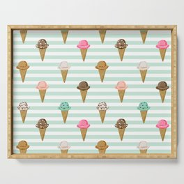 ice cream cones flavors mint stripes food fight apparel and gifts Serving Tray