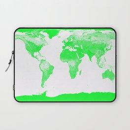 woRld Map Bright Green & White Laptop Sleeve