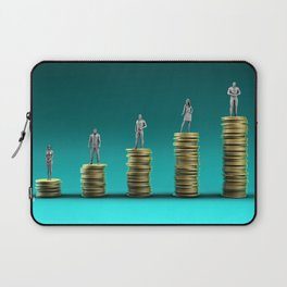 Finance Wealth Increase with Business People Standing on Chart of Gold Coins Laptop Sleeve