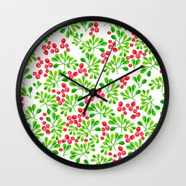 Christmas Holly Berries Wall Clock