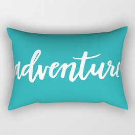 Adventure Calligraphy Travel Lettering Teal Rectangular Pillow