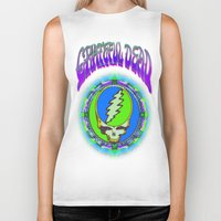 grateful dead Biker Tanks featuring Grateful Dead #9 Optical Illusion Psychedelic Design by CAP Artwork & Design