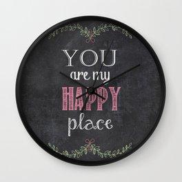 Chalk Happy Place Wall Clock