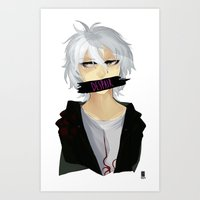 dangan ronpa Art Prints featuring Nagito Komaeda -Super Dangan Ronpa 2- by Xizeta