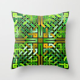 Green Celtic  Knot Square Throw Pillow