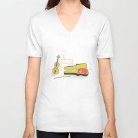 violin V-neck T-shirts featuring Cat & Violin by Jenny Tiffany