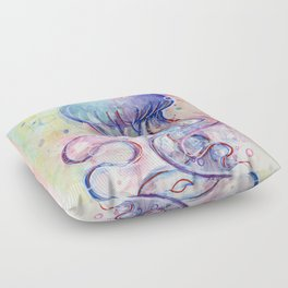 Jellyfish Watercolor Floor Pillow