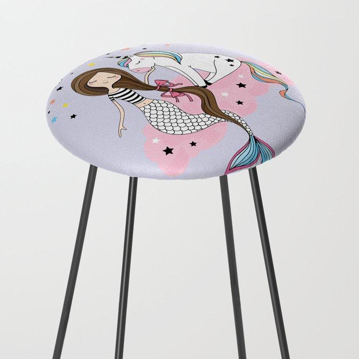 Mermaid & Unicorn Counter Stool