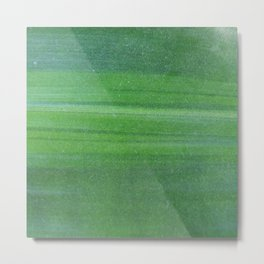 Abstract modern lime forest green stripes pattern Metal Print