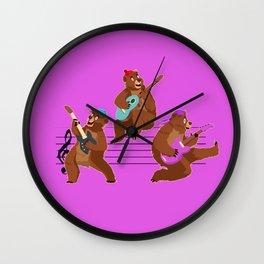 Bear Musicians Wall Clock